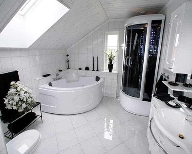 Bathroom Modern Black And White Attic Bathroom With Shower And Bathtub Best Designed Bathrooms - pictures, photos, images