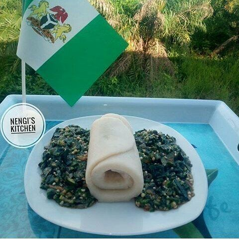 Welcome to MyCookery Zone Food Media|Photo: Check out this Independence day meal.  The independence meal above was made by @nengiskitchen what another lovely way of celebrating independence. It is a cuisine that consist of Okro vegetable soup and fufu. Which was plated along side a Nigerian flag.  See photo: #independencemeal #food #Nigeriaindependenceday #Nigeriaat57