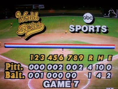 1979 WORLD SERIES   ... was showing game 7 of the 1979 world series which is to date the