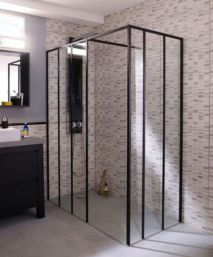 douche l 39 italienne 12 mod les tendance paroi de douche fixe anti calcaire et hauts noirs. Black Bedroom Furniture Sets. Home Design Ideas