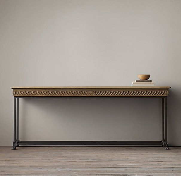 RHu0027s French Oak Relief Console:Our Take On A Century French Oak Table  Recreates Its Elaborately Carved Apron And Molded Edge But Pairs The Top  With A Simple ...