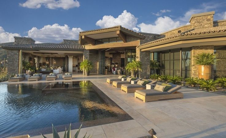 Interior Exquisite Arizona Desert Mountain Retreat With Comforting Views: Marvelous Of Outdoor Design In Rectangle Design Of Sweet Swimming Pool Plus Bed Pool Set With Chusions Asslong As Charming Of Outdoor Floor In Marble Type
