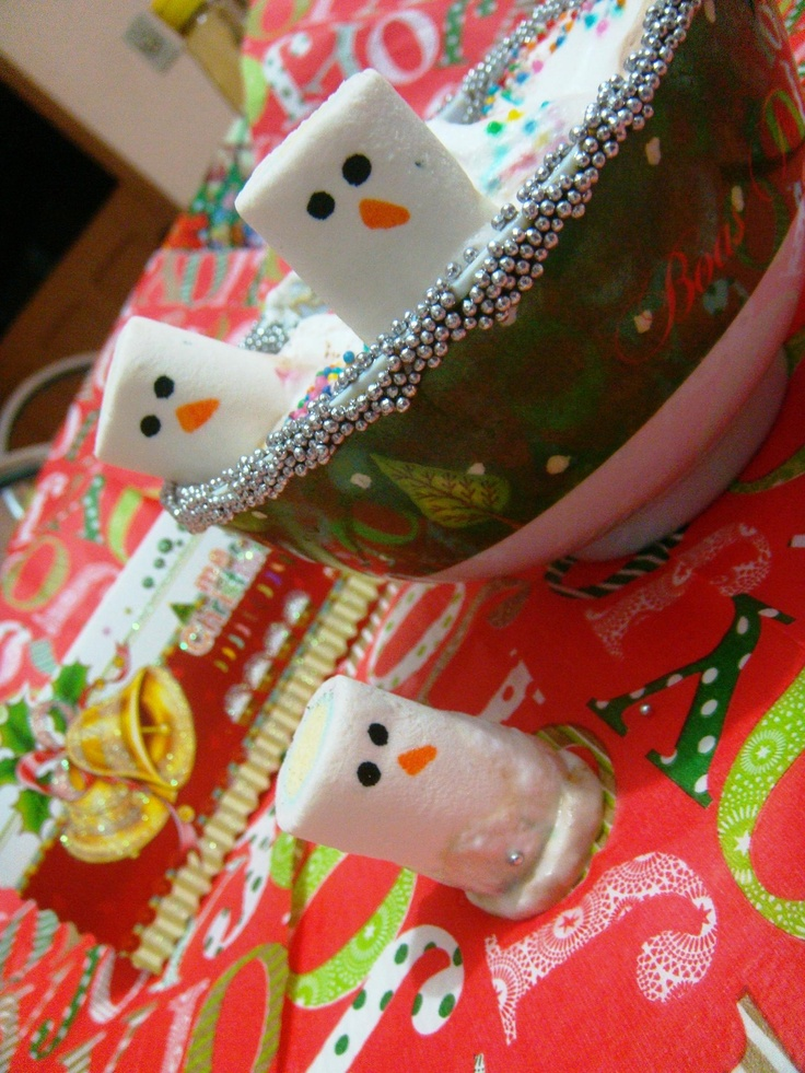 Marshmallow Snowman: Cuteness, Food, Deliciousness, Christmas, Holidays, Frosty Snowmen, Marshmallow Snowman, Marshmallows, Crafts