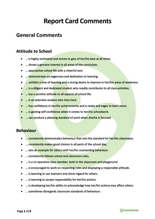 report card comments teaching resource  remarks for