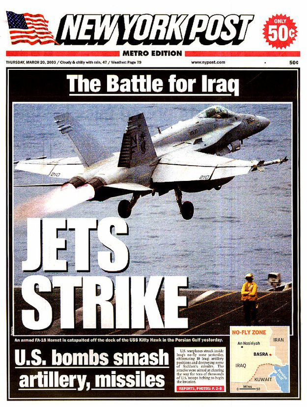 This Is How Newspapers Covered The Start Of The Iraq War 10 Years Ago