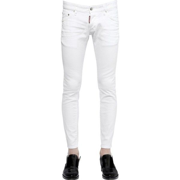 DSQUARED2 16.5cm Clement Fit Stretch Denim Jeans (6,190 THB) ❤ liked on Polyvore featuring men's fashion, men's clothing, men's jeans, white, mens stretch denim jeans and mens white jeans