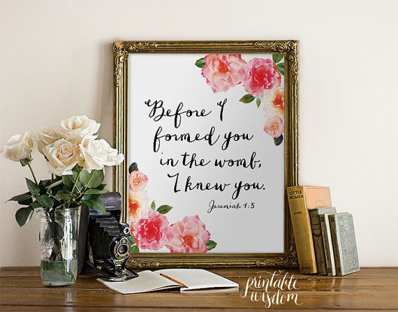 Nursery Bible Verse wall art, printable Scripture Print floral Christian wall decor poster, inspirational, Jeremiah 1:5 INSTANT DOWNLOAD