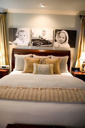 love the canvases behind the bed!