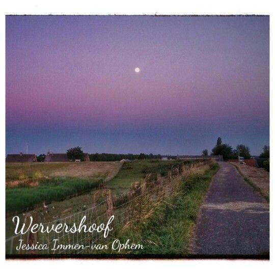 Volle maan,  de dijk Wervershoof  Www.creativeartbyjessica.nl