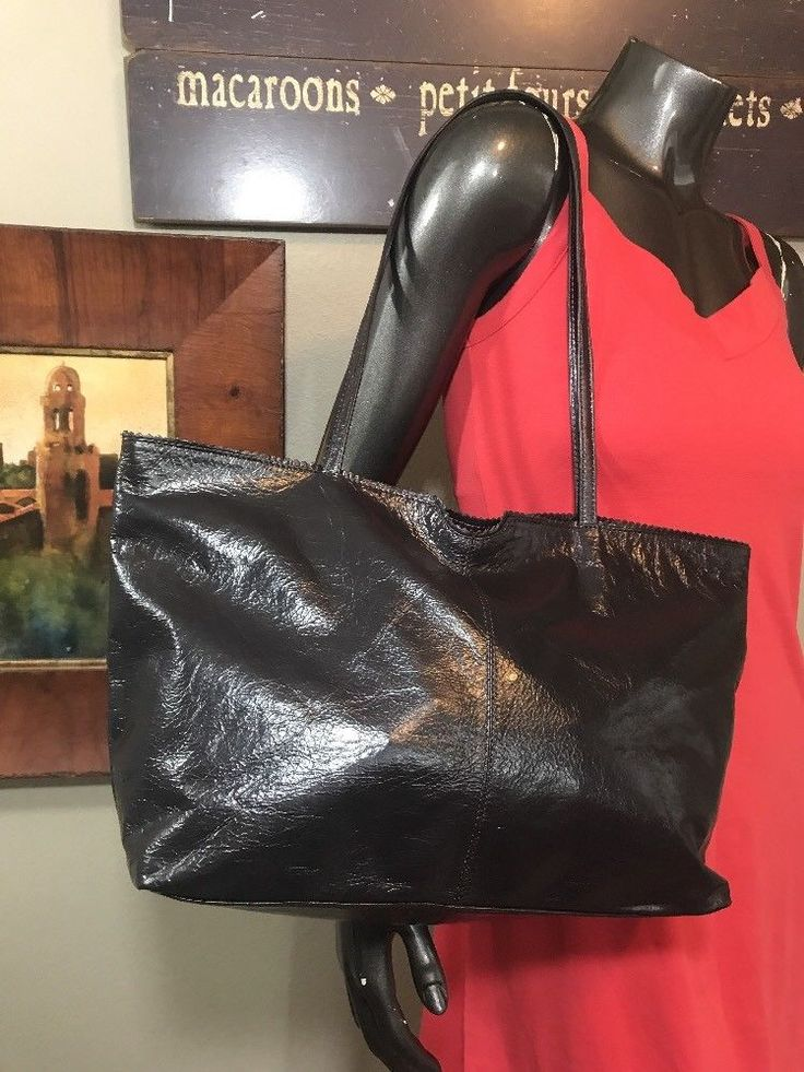 LATICO  Soft Black Brown Leather Purse Medium Tote Shoulder Shopper Zip Close  | eBay