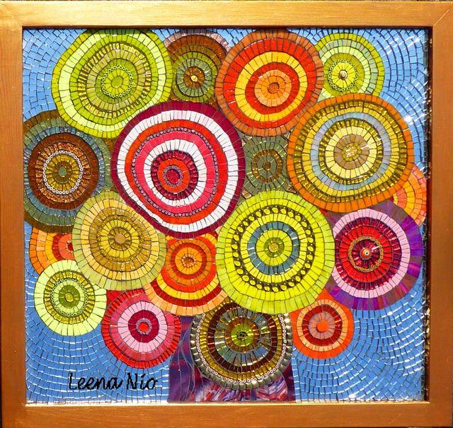 Joyful by Leena Nio, via Flickr. Mosaic still life plant flowers- circles design