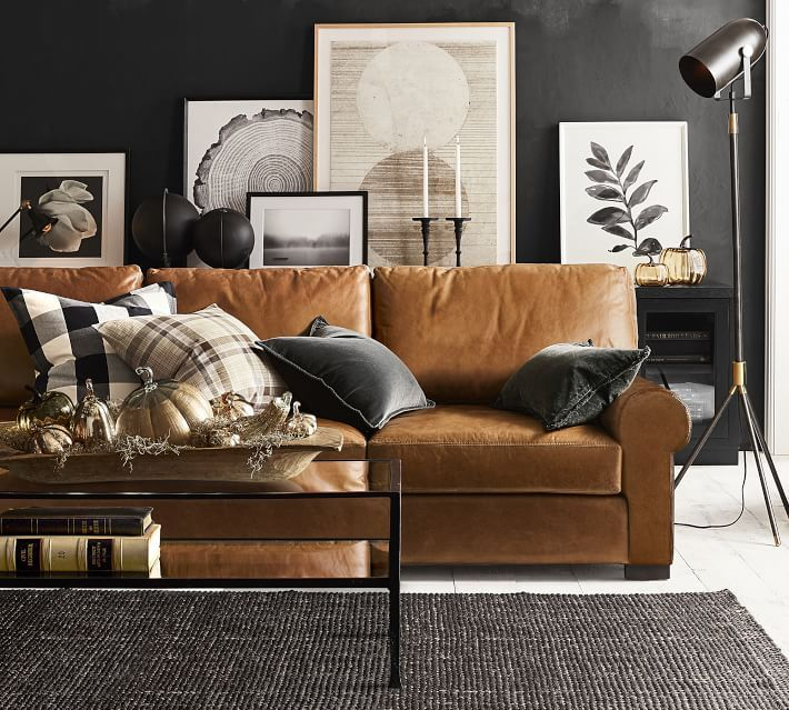 Buffalo Check Plaid Pillow Cover Leather Couches Living Room