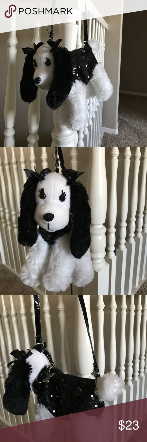 Kids puppy purse Adorable puppy purse black and white with dog tags and a place to write a name brand new Accessories Bags