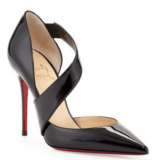 Christian Louboutin Ograde 100mm Cross-Strap Patent Red Sole Pointed Toe Pump Black
