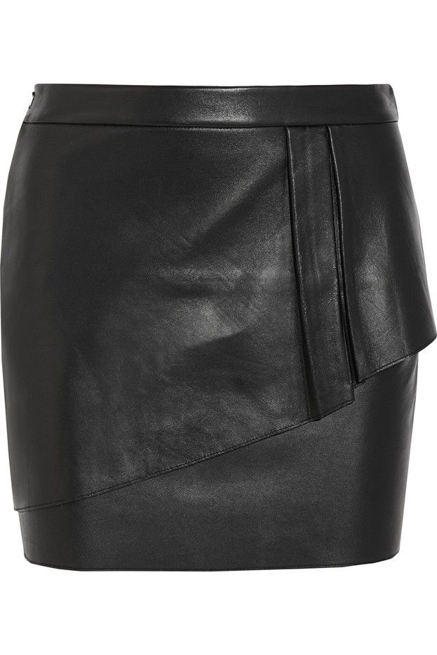 Wear a cropped chunky sweater or tuck in a printed blouse with this dressy skirt // Maje Gaia Layered Leather Mini Skirt