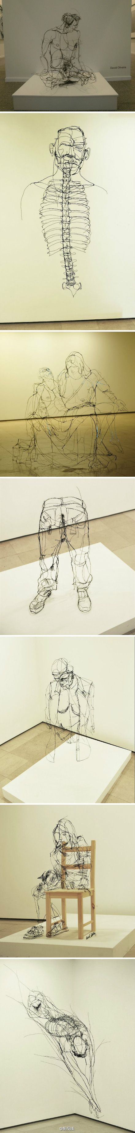 Steel wire figural sculptures by Portuguese artist David Oliveira