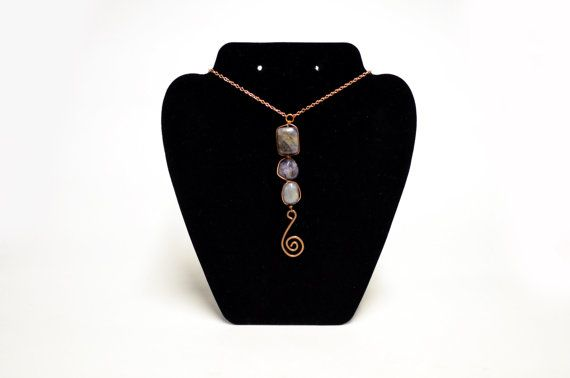 Amethyst and Copper Spiral Necklace  Wire Wrapped by FernsAreGreen
