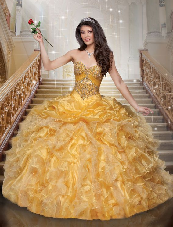 With its hand rolled, floral corset and sophisticated silhouette, this shimmer organza ball gown pays tribute to Belle's elegance, intelligence and beauty. | Disney Royal Ball | Quinceanera Dresses | Quinceanera Dresses by Disney Royal Ball