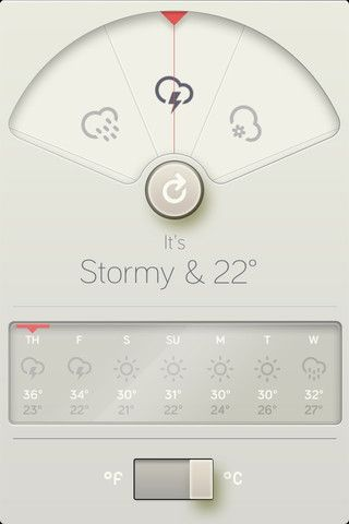 #iphone #wthr #weather #toggle #sliding navigation #typography