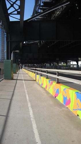 https://flic.kr/p/7WtjKM | NYCamo | Concrete jersey barriers become canvases for colorful designs making in-between spaces come to life with the implementation of four artist-designed murals in on 150 barriers in one weekend during the spring of 2010.