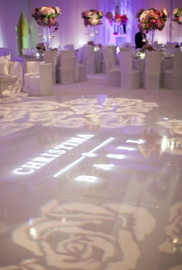 381 best gobo lighting inspiration monogram lighting for Diy wedding reception lighting