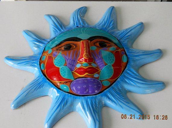 Terra Cotta Sun Face Wall Plaque Folk Art Hanging Plaque