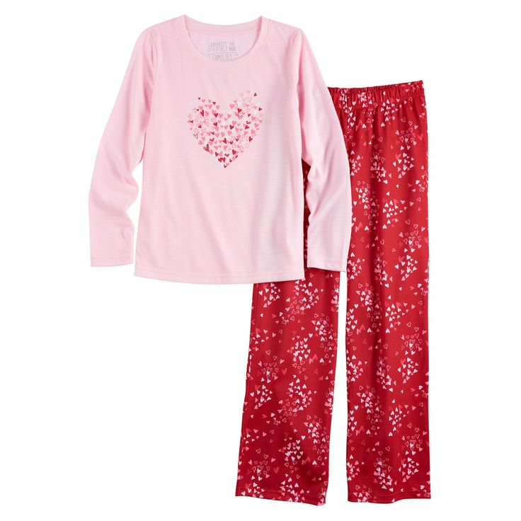 Girls 7-16 Jammies For Your Families Heart Graphic Top & Bottoms Pajama Set, Size: 7-8, Med Red