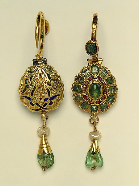 https://www.bkgjewelry.com/ruby-rings/199-18k-yellow-gold-diamond-ruby-cocktail-ring.html Object Name: Earring  Date: 17th century  Geography: Morocco  Medium: Gold, enamel, pearl, emerald, ruby