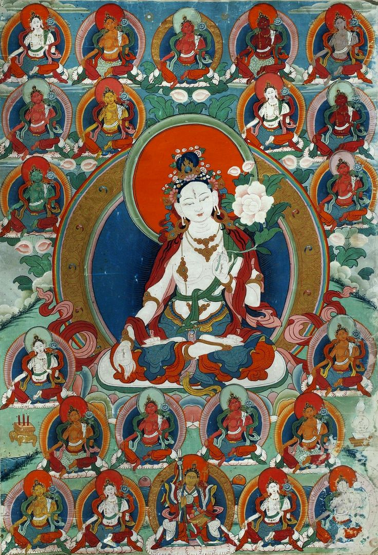 """#White_Tara Mantra, #Tara  White Tara (the Mother of all Buddhas) and Green Tara are the two main aspects of Tara, known by the name Wish-fulfilling Wheel or #Cintachakra. Another name for White Tara is Sita Tara (in Sanskrit #Sita means pure or# white). #White_Tara #mantra contains the essence of Tara – compassion. Also, in all images, White Tara is represented with seven eyes (hence the name of """"#Goddess of Seven Eyes"""")  http://www.insightstate.com/video/white-tara-mantra/"""