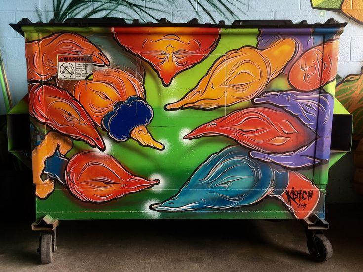 Art This Garbage Dumpster In Portland OR // artist: Klutch (2015)