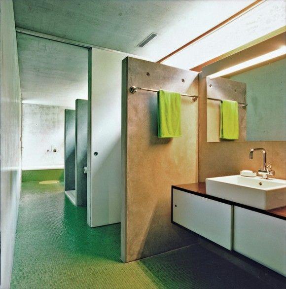 The bathroom  moinian-meili-house-bathroomHouse Tours, Hertha Hurnaus, Felix Oesch, Concrete Prefab, House Bathroom, Bathroom Ideas, Hurnaus Photos, Moinian Meili House'S Bathroom, Sliding Doors