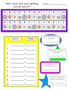 How Much Money are your Spelling Words Worth? A great center-based spelling/money activity !
