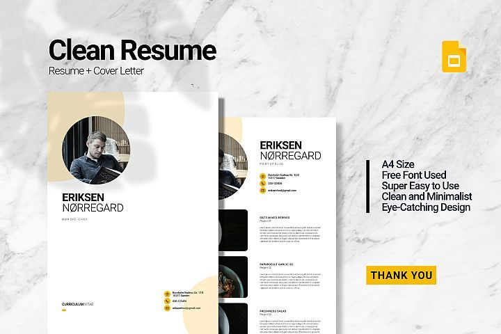Clean chef resume google slides in 2020 chef resume