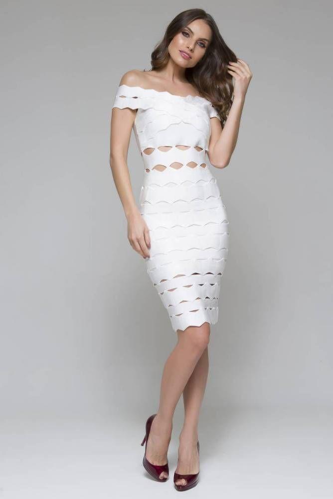 fdfe5818e Vestido Midi Heloísa Branco Vestido Bandagem Midi, Vestido De Luxo,  Feminina, Casamento