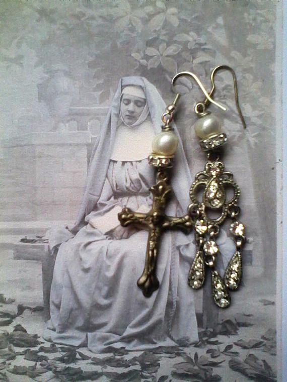 Holy medal Assemblage earrings Religious assemblage earrings
