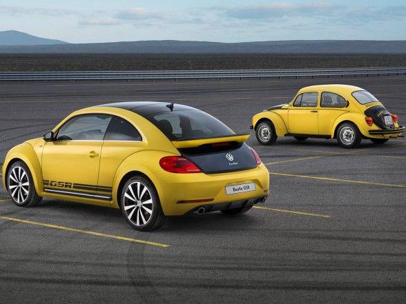 Volkswagen, Volkswagen Beetle Gsr Terrific Yellow Black Racer Rear Angle: 2014 Volkswagen Beetle GSR; Hatchback Design