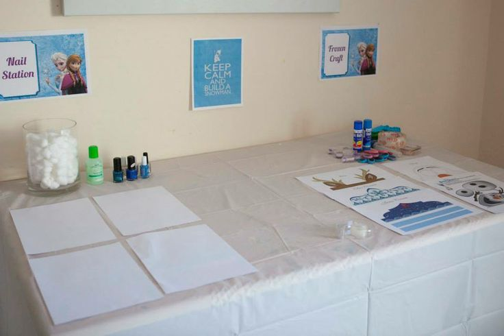 Frozen Party styling, nail station and craft activity table