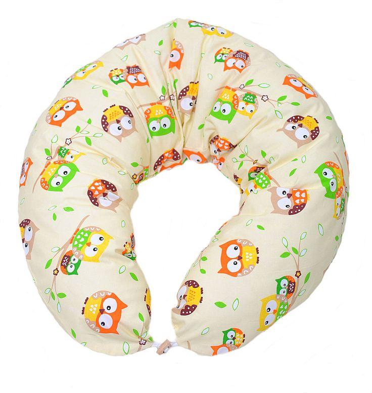 HOBEA-Cuscino da allattamento Beige con Gufetti – RocketBaby.it