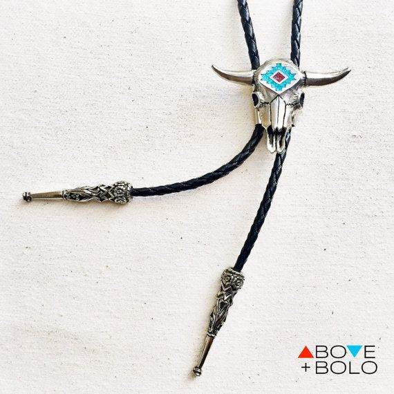 Western BOLO TIE with Cow Skull and Genuine by AboveandBolo