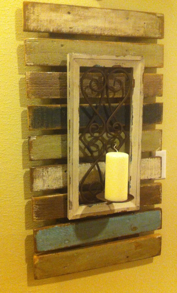Palette wood wall candle decor