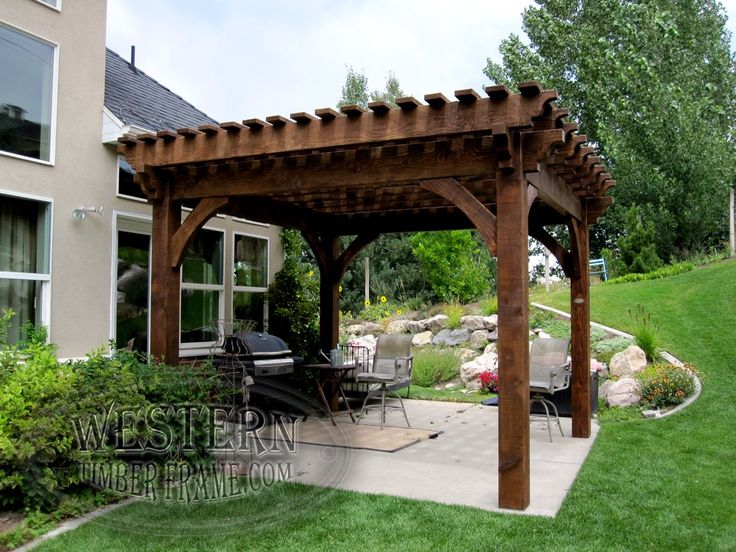Free standing pergola with Early American stain and Champion profile. - The 424 Best Free Standing Pergolas Images On Pinterest Free