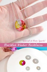 DIY: Marbled Washer Necklace Tutorial                                                                                                                                                     More