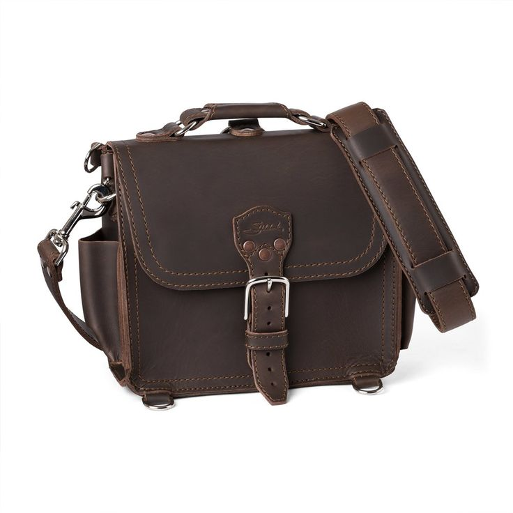 Saddleback Leather Small Leather Satchel in Dark Coffee Brown