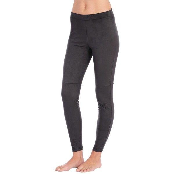 HUE Ultra Suede Leggings ($48) ❤ liked on Polyvore featuring pants, leggings, black, suede pants, black trousers, black leggings, suede leather pants and suede leggings