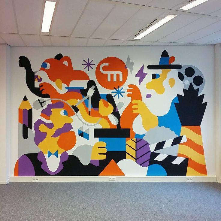 office graffiti wall. result of last weeks paint job at the new cooler media office graffiti wall
