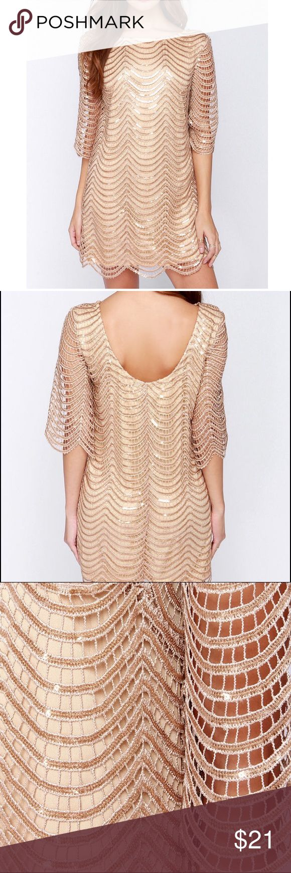 Ark & Co. BEIGE / GOLD SEQUIN COCKTAIL DRESS UNDER THE AFFLUENCE BEIGE SEQUIN DRESS size small. Cocktail dress. Worn once! I'm pregnant now so won't be needing it for NYE, sadly. Ark & Co Dresses Mini
