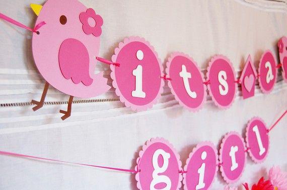 Sweet Tweet Bird & Birdhouse It's a girl Baby Shower Banner by http://pinwheellane.etsy.com