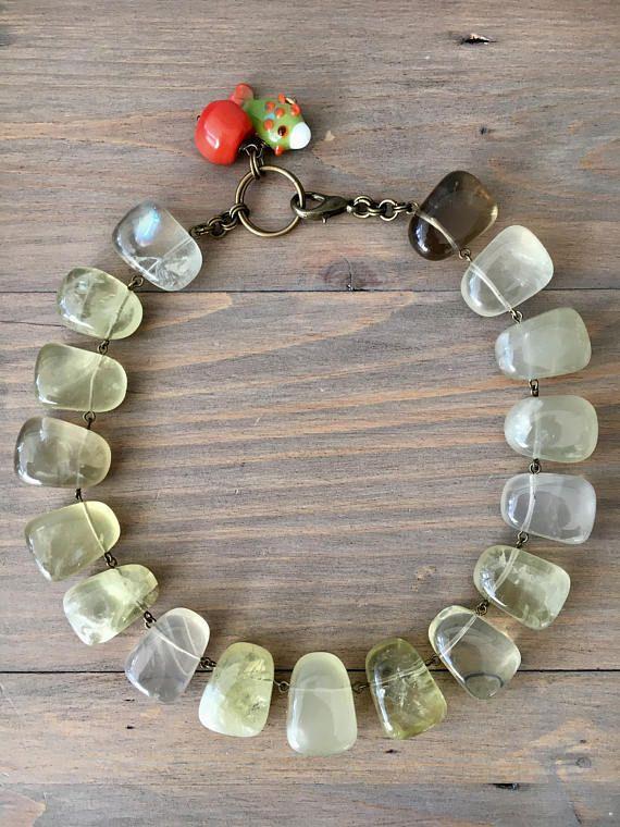 Lemon Quartz choker necklace  irregular lemon quartz nuggets