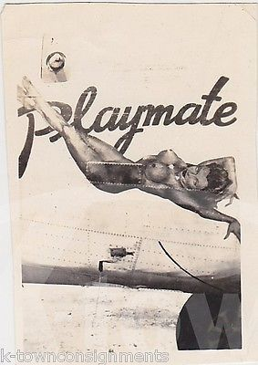 JUNIOR LADY PIN-UP GIRL B-24 WWII BOMBER PLANE NOSE ART WWII SNAPSHOT PHOTO