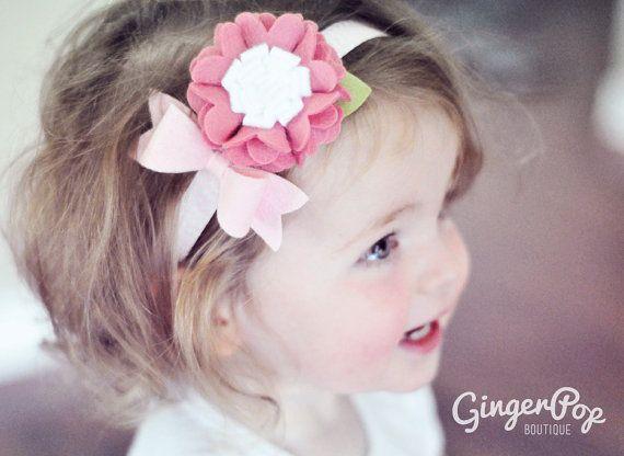 Felt Flower Chevron Headband - 100% Wool Felt Pink Ruffle Flower Chevron Headband - Hair Accessory and Photo Prop for Babies, Toddlers
